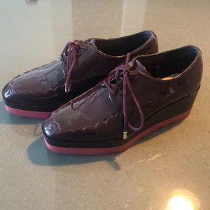 Zara burgundy platform sneakers